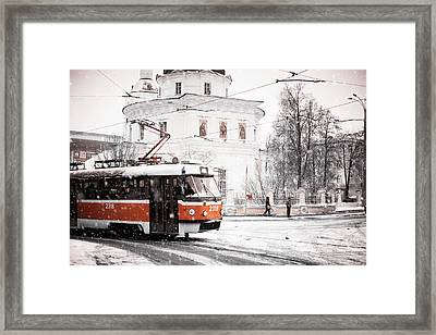 Moscow Tram. Snowy Days In Moscow Framed Print by Jenny Rainbow