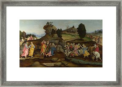 Moses Brings Forth Water Out Of The Rock Framed Print