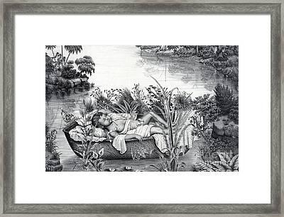 Moses Hidden In Basket Framed Print