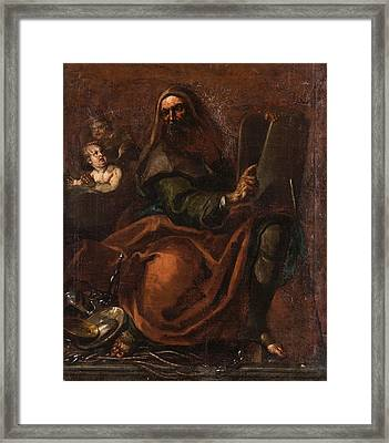 Moses Holding The Tablets Of Law Framed Print by Annibale Carracci
