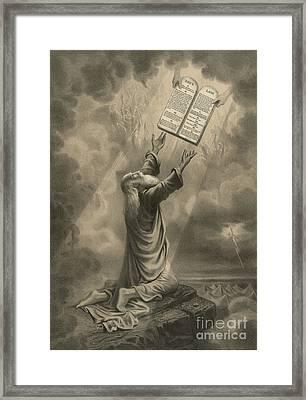 Moses Receiving The Ten Commandments Framed Print
