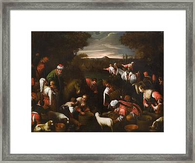 Moses Striking The Rock Framed Print