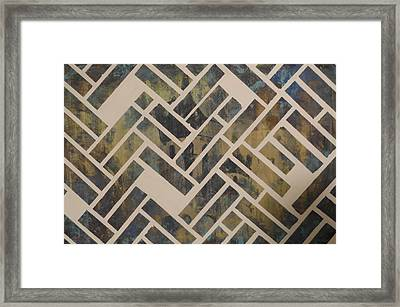 Mosque Herringbone Blue Framed Print by Salwa  Najm
