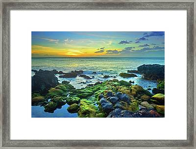 Framed Print featuring the photograph Moss Covered Rocks At Sunset In Molokai by Tara Turner