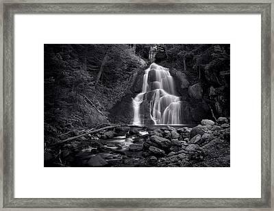 Moss Glen Falls - Monochrome Framed Print