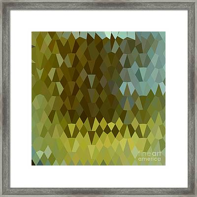 Moss Green Abstract Low Polygon Background Framed Print by Aloysius Patrimonio