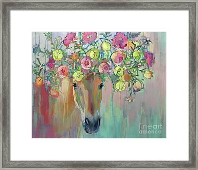 Moss Rose Framed Print by Kimberly Santini