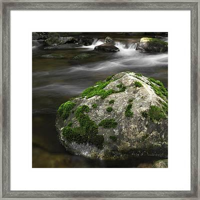 Mossy Boulder In Mountain Stream Framed Print by John Stephens