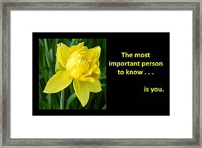 Most Important Person Framed Print by Gallery Of Hope