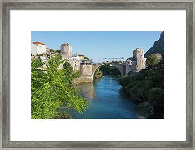 Mostar, Bosnia Herzegovina  The Single Arch Stari Most Or Old Bridge. Framed Print by Ken Welsh