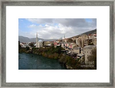 Mostar City With Mosque Minaret Medieval Architecture Neretva River Bosnia Herzegovina Framed Print by Imran Ahmed
