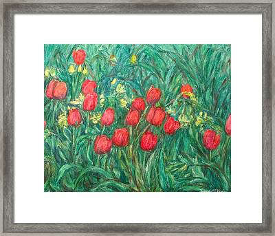 Framed Print featuring the painting Mostly Tulips by Kendall Kessler