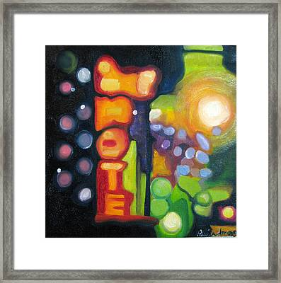 Framed Print featuring the painting Motel Lights by Patricia Arroyo