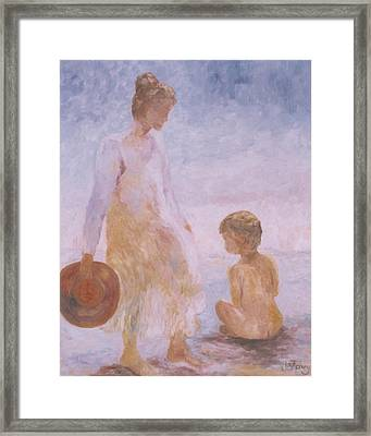 Mother And Baby On The Beach Framed Print