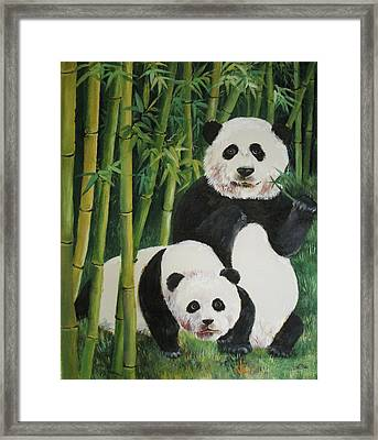 Mother And Child 2 Framed Print by Lian Zhen