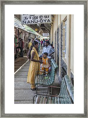 Mother And Child At Train Station In Sri Lana Framed Print by Patricia Hofmeester