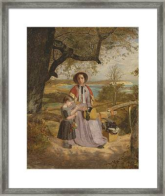 Mother And Child By A Stile, With Culver Cliff, Isle Of Wight, In The Distance Framed Print