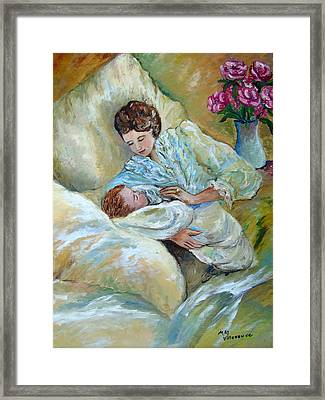 Mother And Child By May Villeneuve Framed Print