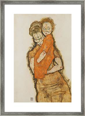 Mother And Child Framed Print by Egon Schiele
