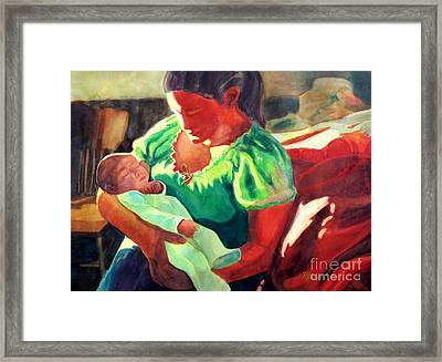 Mother And Child In Red2 Framed Print by Kathy Braud
