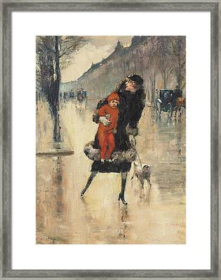 Mother And Child On A Street Crossing Framed Print