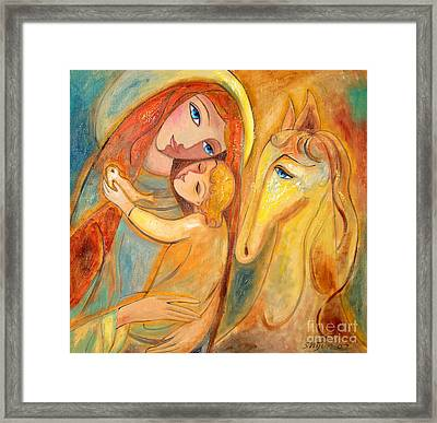 Mother And Child On Horse Framed Print by Shijun Munns