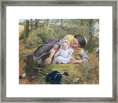 Mother And Child With A Poppy Framed Print