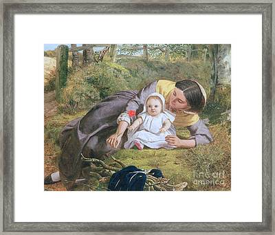 Mother And Child With A Poppy Framed Print by Frederick Richard Pickersgill