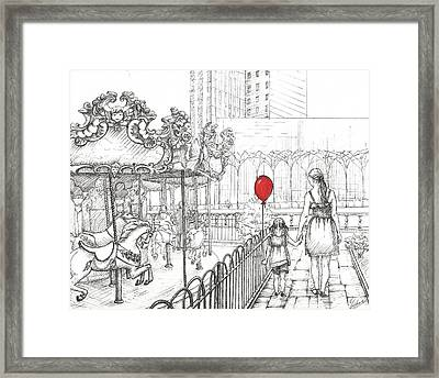 Carousel, New York. Mother And Daughter.  Framed Print