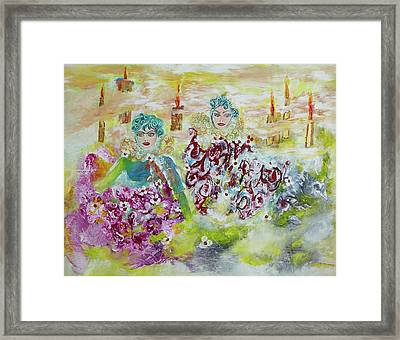 Framed Print featuring the painting Mother And Daughter In Peace by Sima Amid Wewetzer