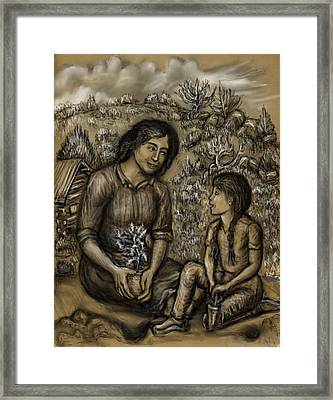 Mother And Daughter In The Garden Framed Print