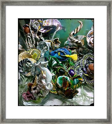 Mother And Daughter Seahorse With Blue Tang Framed Print