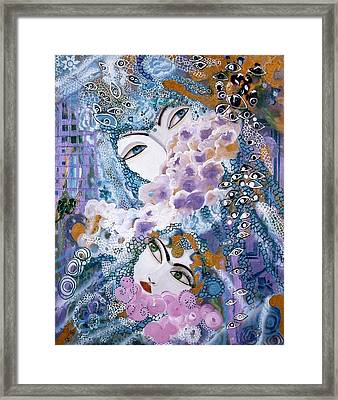 Framed Print featuring the painting Mother And Daughter by Sima Amid Wewetzer