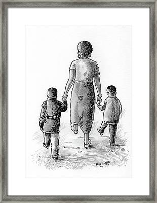 Mother And Kids Framed Print