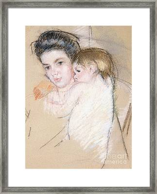 Mother And Nude Child Framed Print by Mary Stevenson Cassatt