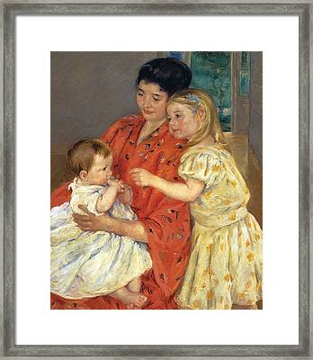Mother And Sarah With The Baby Framed Print by Mary Stevenson Cassatt