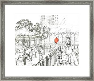 Mother And Son. Bryant Park Carousel, New York. Mother's Day Framed Print