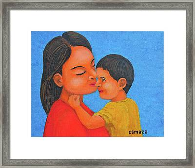 Mother And Son Framed Print by Cyril Maza