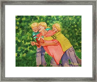 Mother And Sons Framed Print