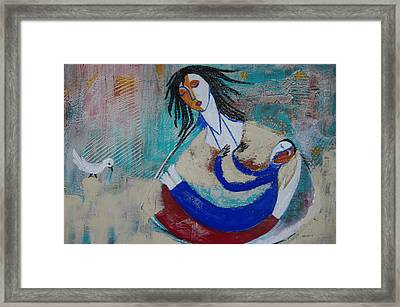 Framed Print featuring the painting Mother And The Child by Sima Amid Wewetzer