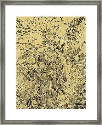 Mother And Time Framed Print by Rodolphe Bresdin