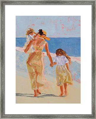 Mother And Two Daughters Framed Print