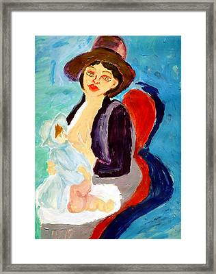 Mother Breastfeeding Baby Framed Print by Anna Angelou