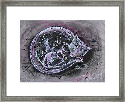 Framed Print featuring the painting Mother Cat With Kittens by Zaira Dzhaubaeva
