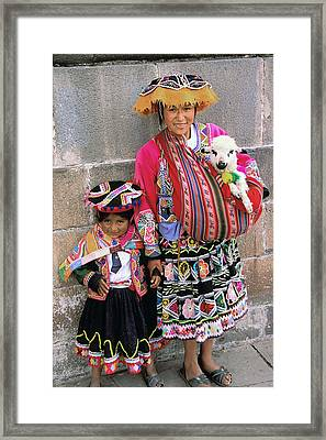 Mother Child  And Lamb Cuzco Framed Print by Alan Lenk