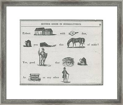 Mother Goose In Hieroglyphics, 1855 Framed Print by Science Source