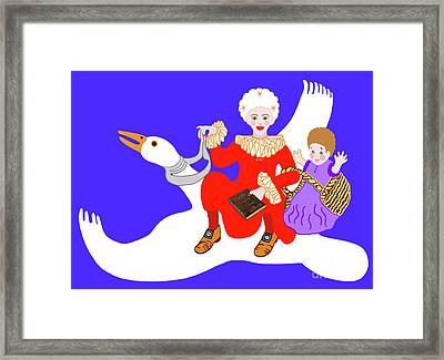 Mother Goose On Her Flying Goose Framed Print