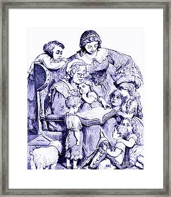 Mother Goose Reading To Children Framed Print by Marian Cates