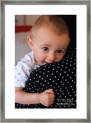 Mother Holding Baby Girl Framed Print by Sami Sarkis