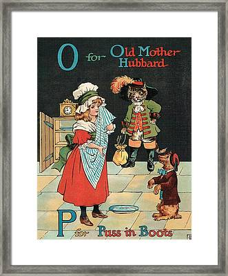 Mother Hubbard And Puss In Boots Framed Print by Reynold Jay